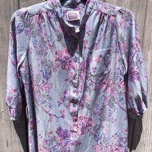 Vintage Floral Long Sleeved Dress Purple Medium
